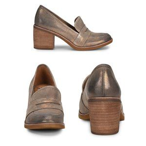 Sofft Sophia Suede Penny Loafers Chunky Block Heel